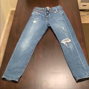 Levi Premium Denim Wedgie Fit Distressed Jeans